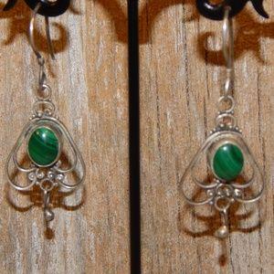 Vintage Malachite & Silver Dangle Earrings